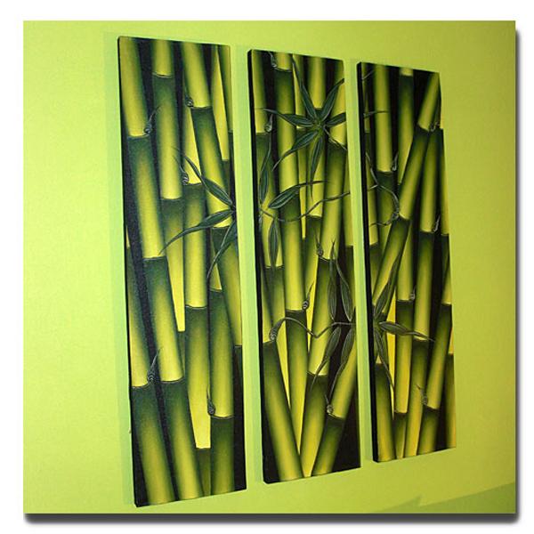 Bambus Ölbild 3 x 30cmxH120cm