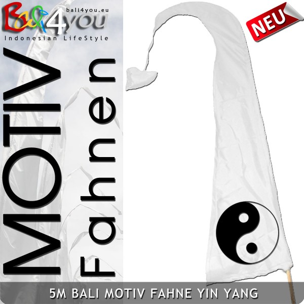 5m Bali Motiv Fahne - Yin Yang