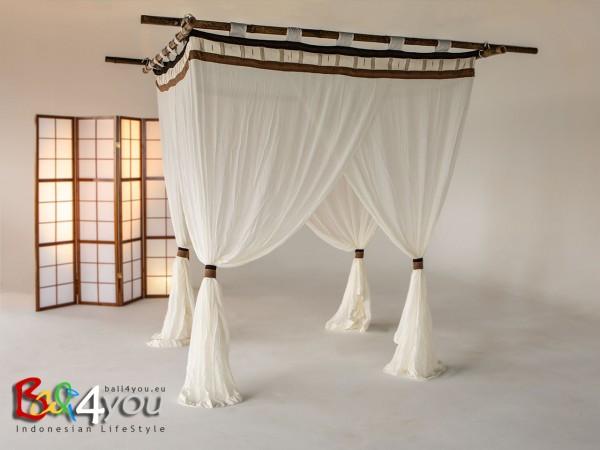 Baldachin Cappuccino mit Textilquasten SET 220 x 200