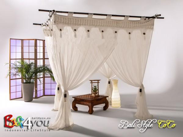 Baldachin Bali Style mit Coco Knöpfen 200 x 200