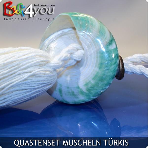 4er Quasten Set Muscheln Grün