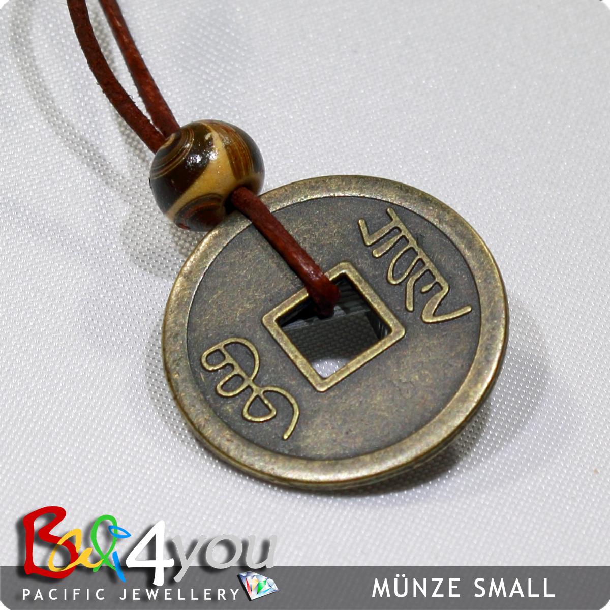 Bali Style Halskette Glücksmünze 2cm
