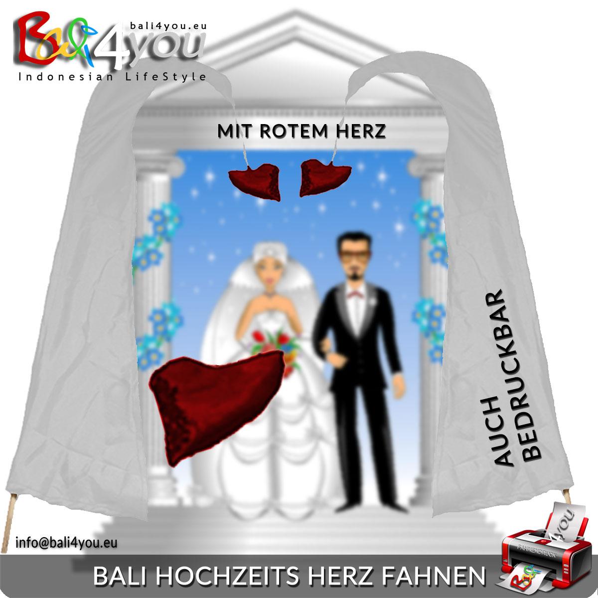 5m Bali Hochzeits Fahne Weiß mit rotem Herz