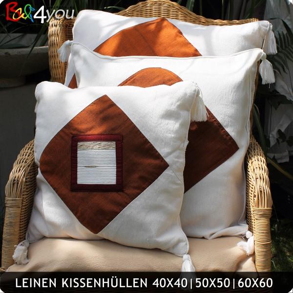Leinen Kissenhülle 50x50 mit Sandelholz Inletts