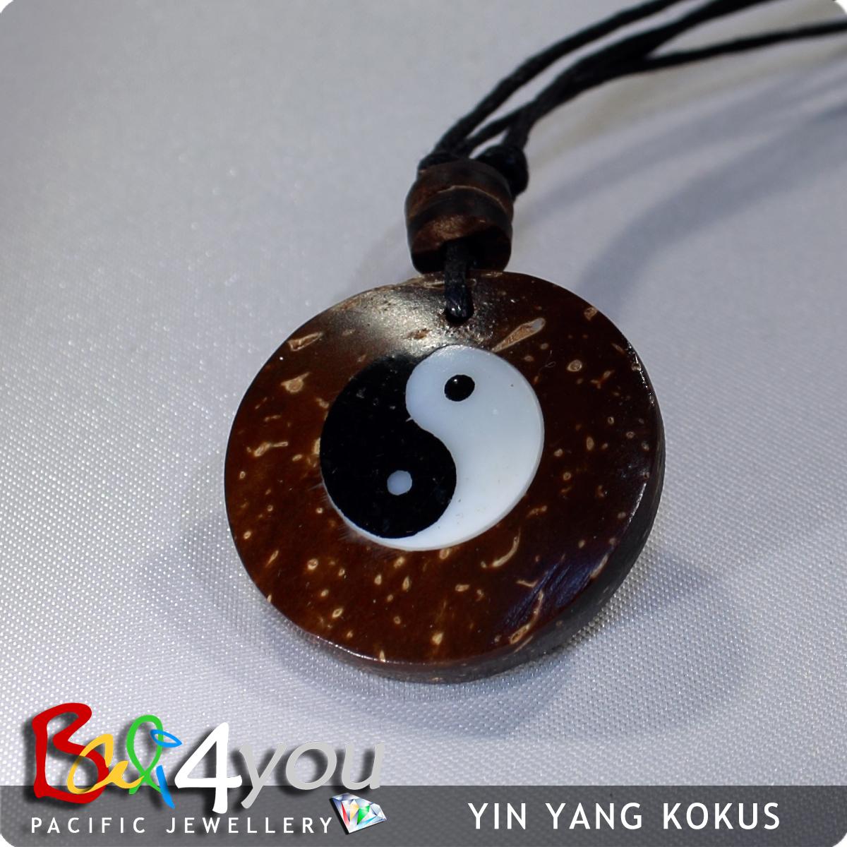 Bali Style Halskette Yin Yang Kokos
