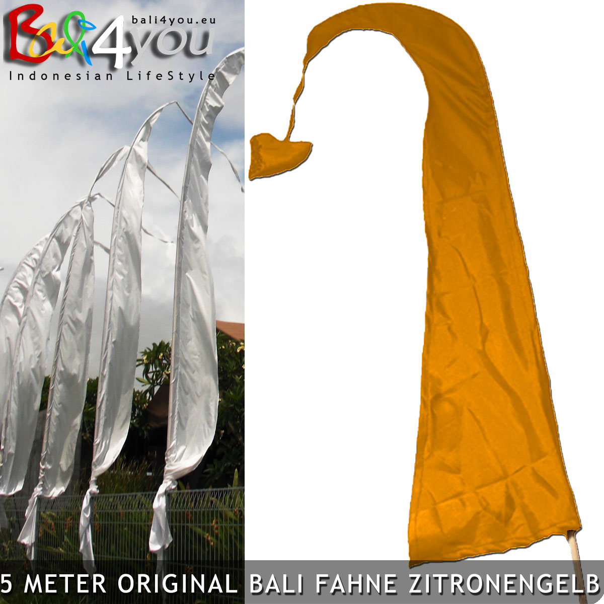5m Bali Fahne Gelb