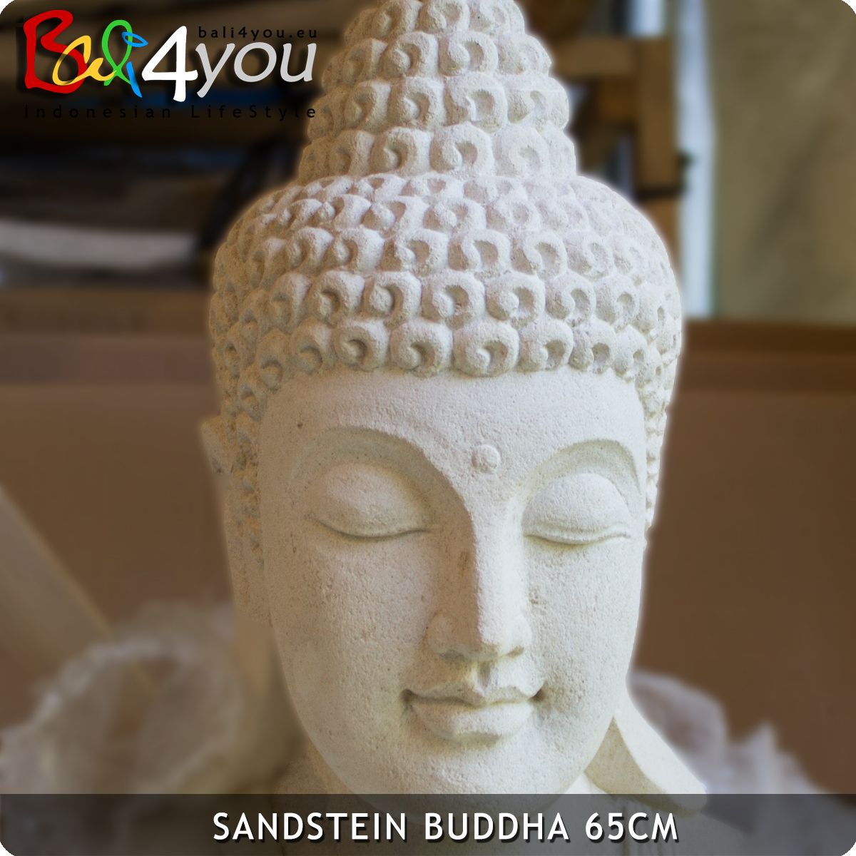 Sandstein Figur Dhyana Buddha 68cm