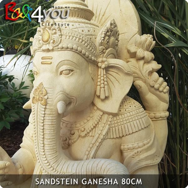 Sandstein Ganesha 75cm Gold Dekor