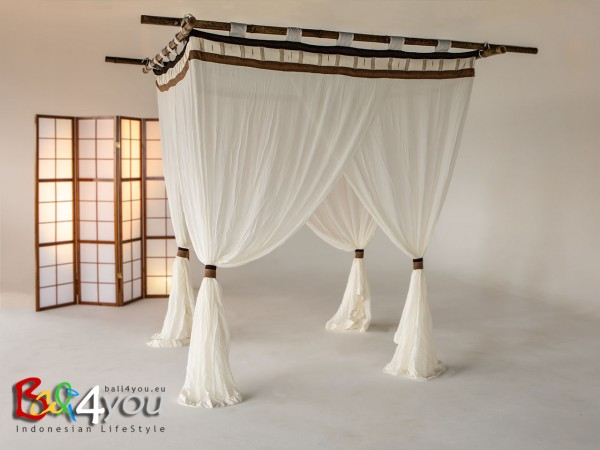 Baldachin Cappuccino mit Textilquasten SET 200 x 200