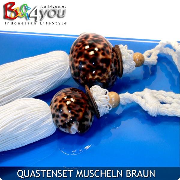 4er Quasten Set Muscheln Braun